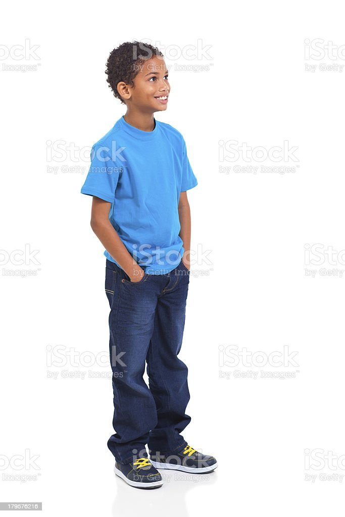 indian little boy looking up stock photo