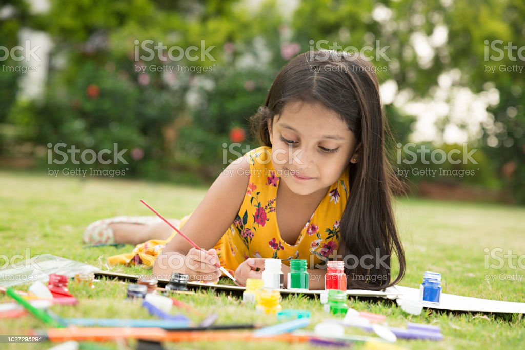 drawing games for little girls Indian Little Girl Drawing And Painting Stock Image Stock