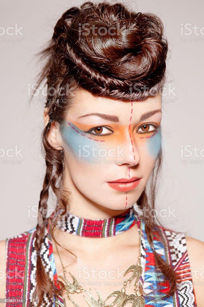 Indian Look Creative Beauty Woman Braided stock photo