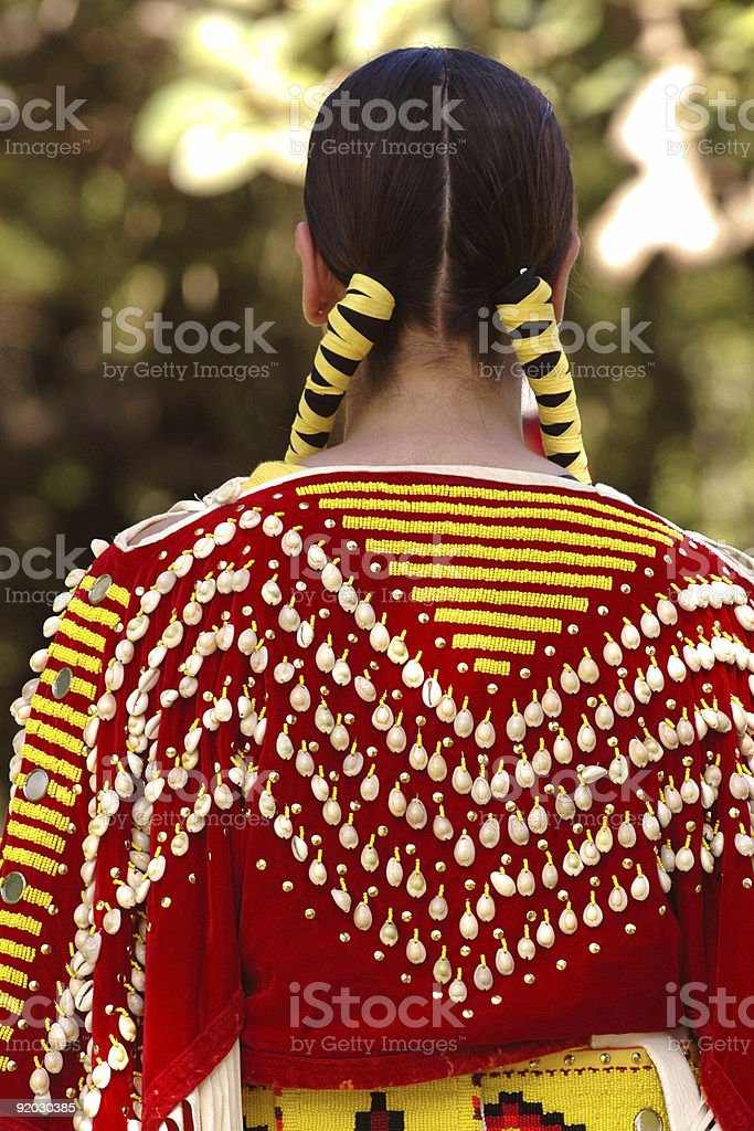 Indian maiden in traditional red costume stock photo