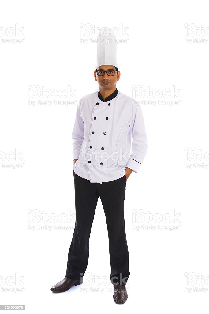 indian male chef full body isolated on white stock photo