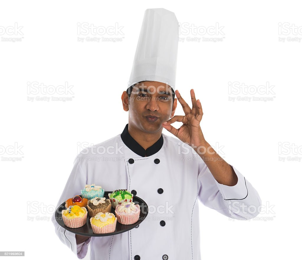 indian male chef with tasty ok sign and white background stock photo