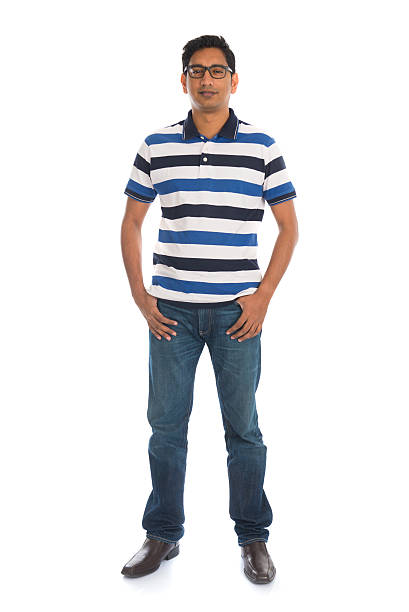 indian male in casual wear and jeans stock photo