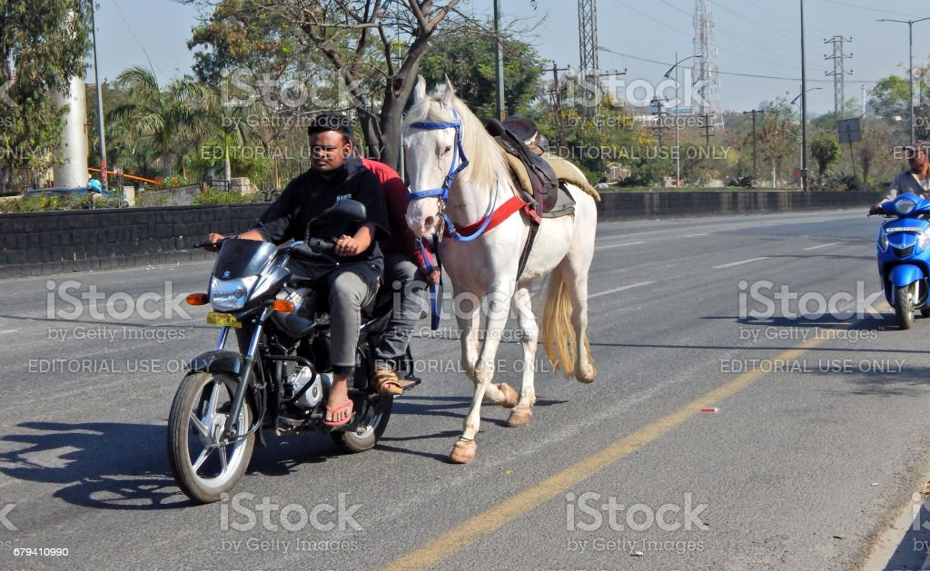 Indian man and pillion rider on motorbike guiding horse run on empty road dangerously royalty-free stock photo