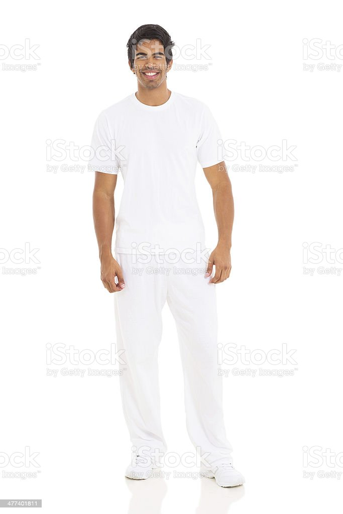 indian man in white clothes stock photo