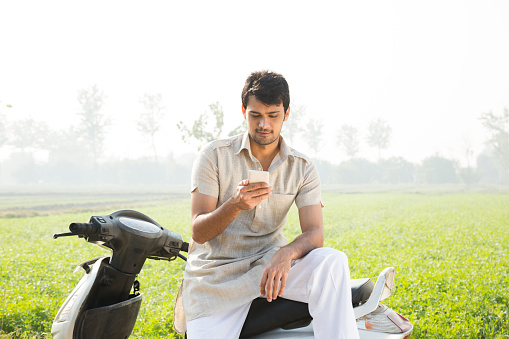 indian man on agriculture field stock photo