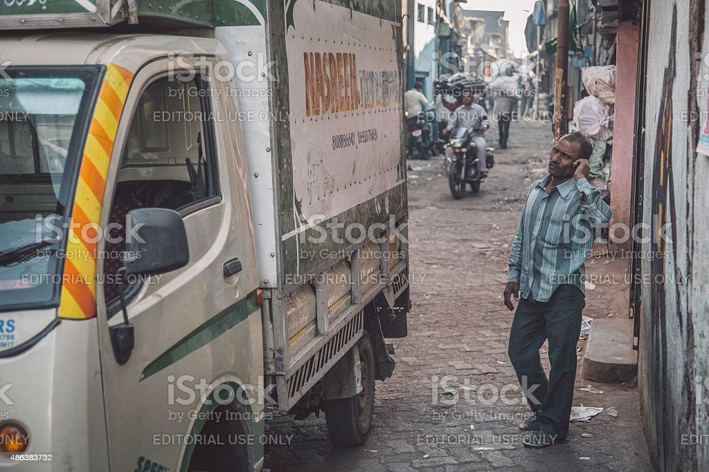 Indian man on phone stock photo