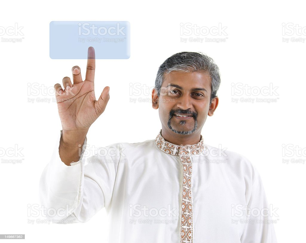 Indian man pointing on virtual screen button royalty-free stock photo