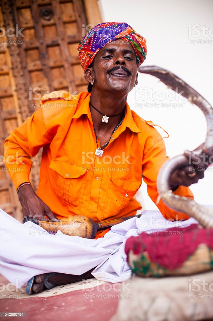 Indian Man Snake Charmer stock photo