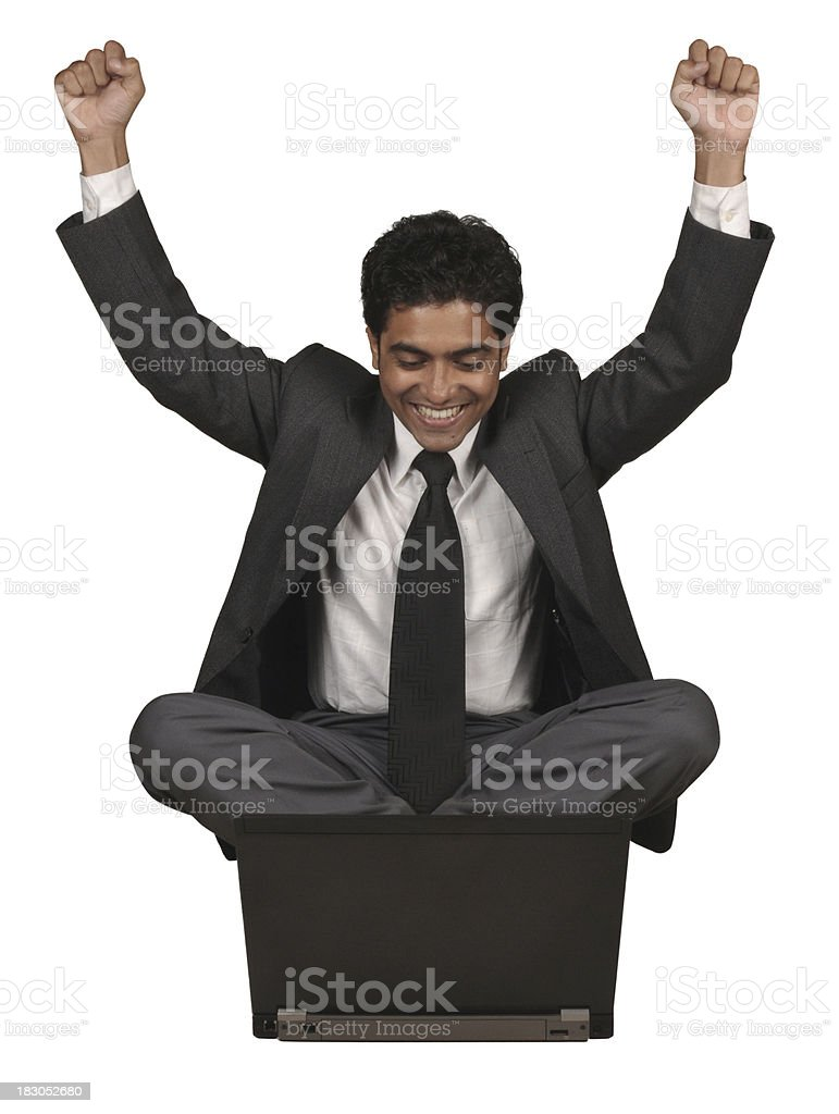 Indian Man Very Happy With Laptop royalty-free stock photo