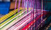 working weaving machine weave handmade fabric
