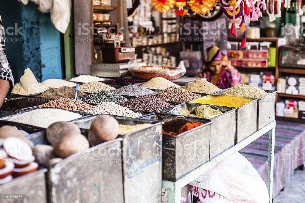 Indian Marketstall selling ingredients stock photo