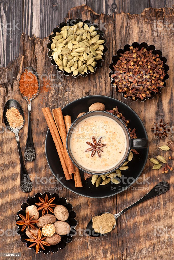 Indian masala chai and spices. stock photo