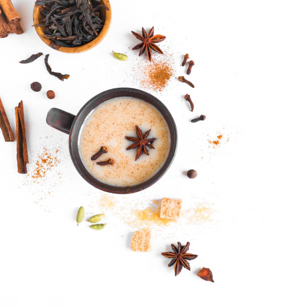 té indio masala chai - clavo especia fotografías e imágenes de stock