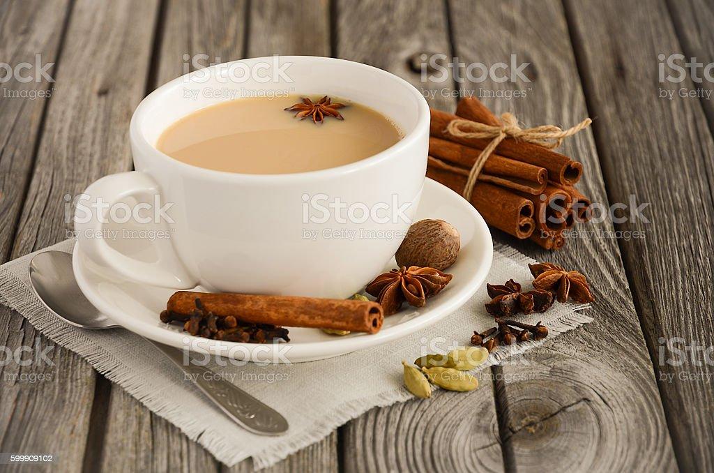Indian masala chai tea. Spiced tea with milk. stock photo