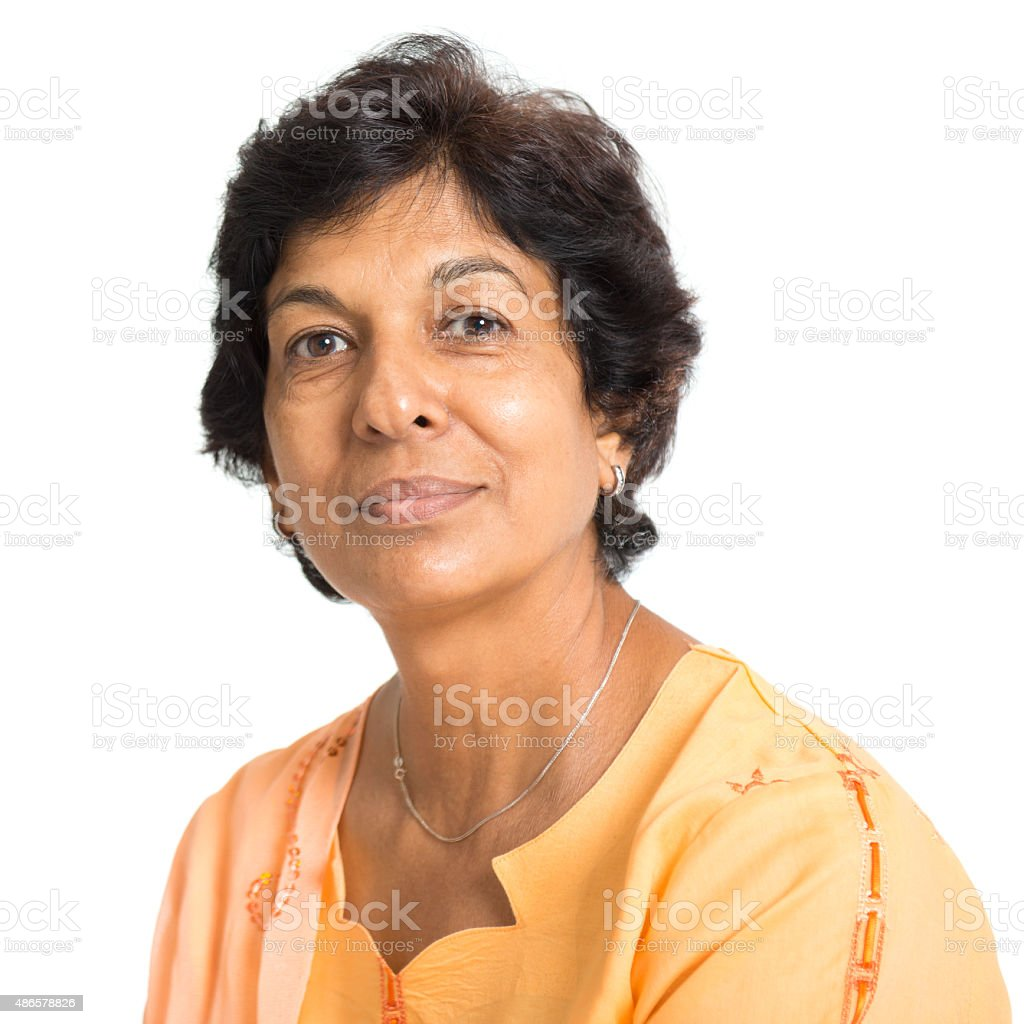 Indian mature woman stock photo