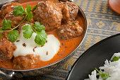 Indian Meal Food Cuisine Balti Meatball or Kofta Curry