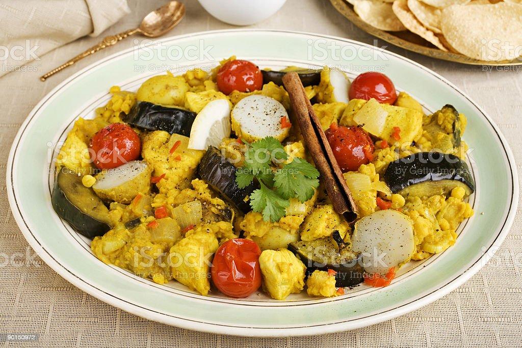 Indisches Essen Küche Essen Huhn Dhansak Curryplatte Stock ...