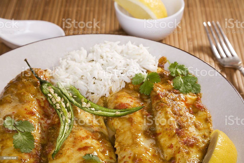 Indian Meal Food Cuisine Coconut Fish Curry stock photo