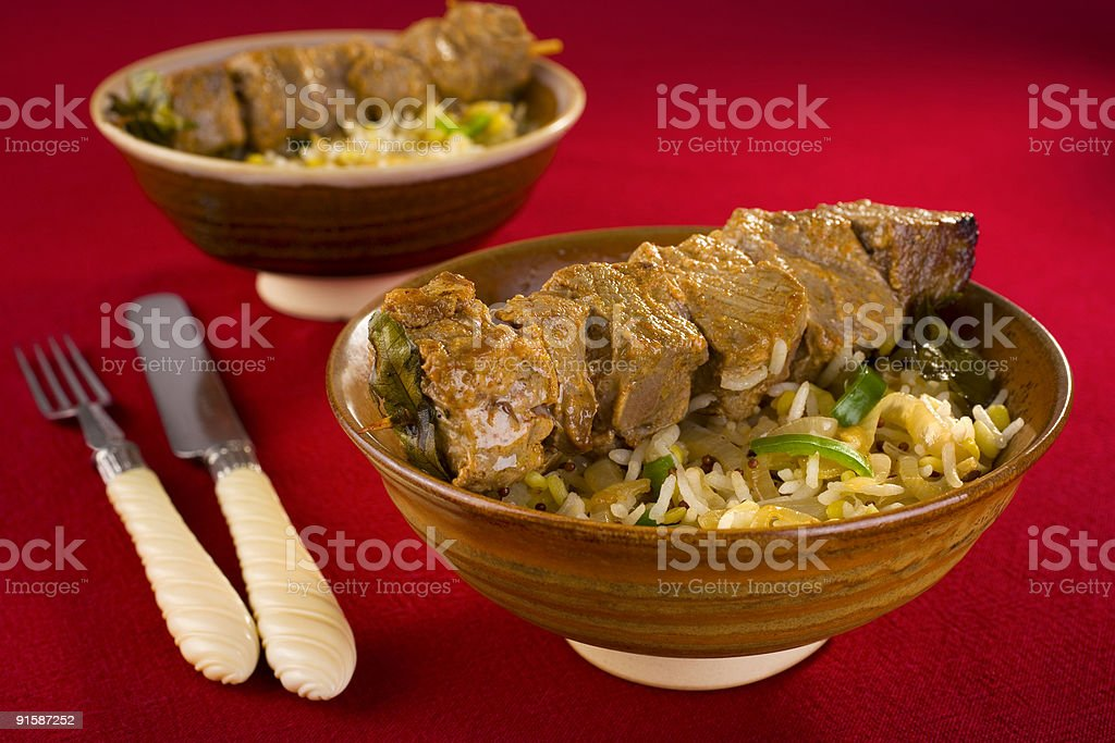 Indian Meal Food Cuisine Curry Beef Kebab and Rice royalty-free stock photo