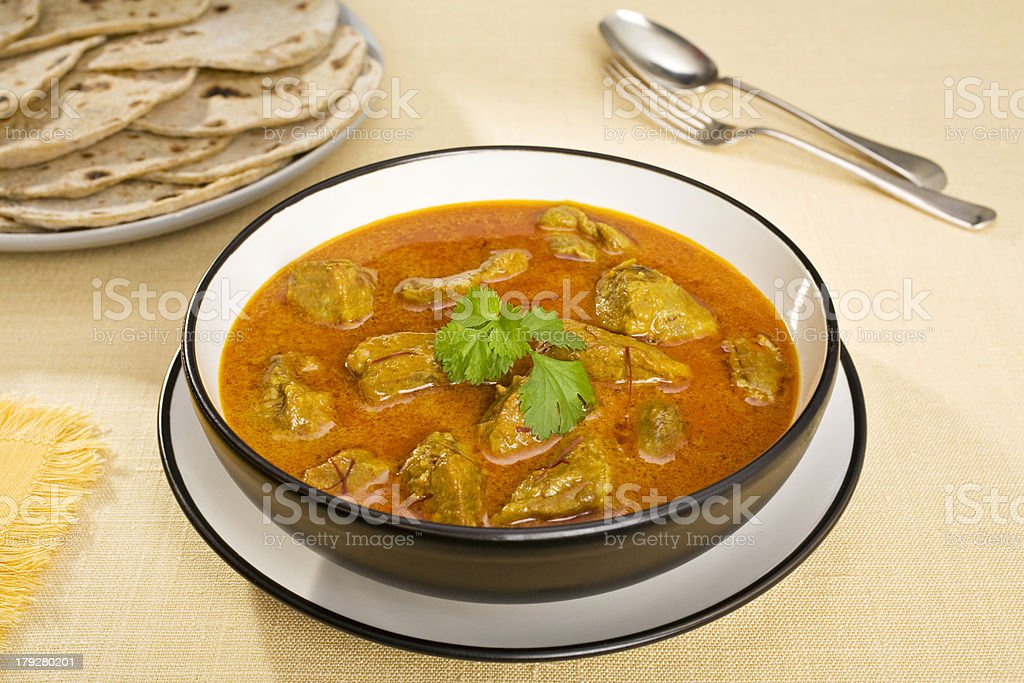 Indian Meal Food Cuisine Curry Meat Rogan Josh stock photo