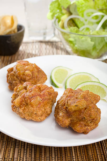 Indian Meal Food Cuisine Curry Vegetarian Accompaniment Appetiser Onion Bhajis stock photo