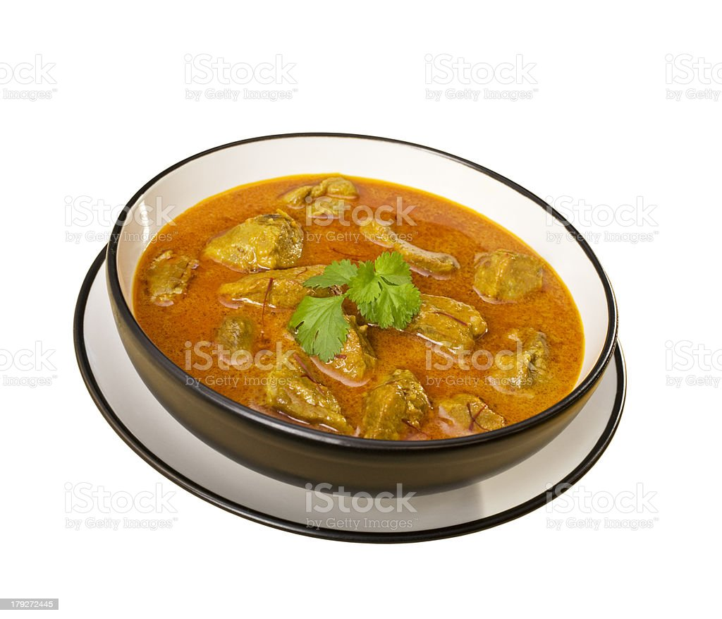 Indian Meal Food Cuisine Meat Bowl of  Curry Isolated stock photo