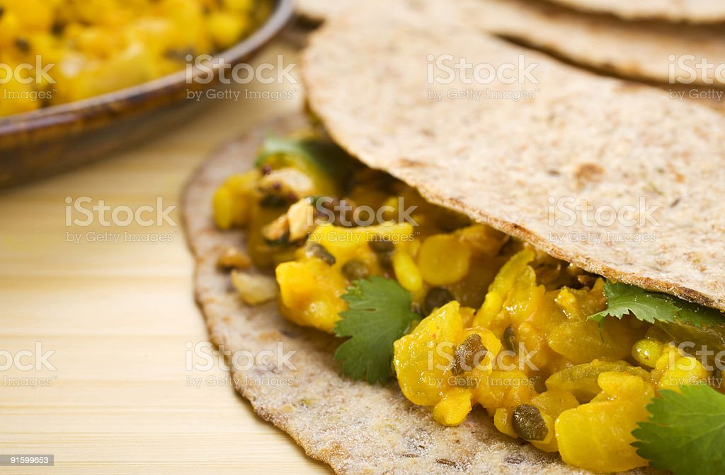 Indian Meal Food Cuisine Vegetarian Lentil Curry and Chapati royalty-free stock photo