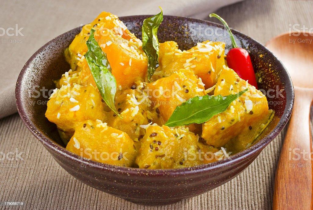 Indian Meal Food Cuisine Vegetarian Pumpkin Coconut Curry stock photo