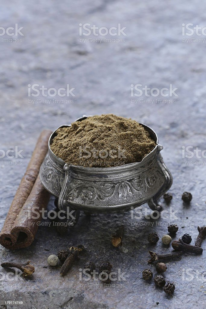 Indian mix of ground spices garam masala royalty-free stock photo