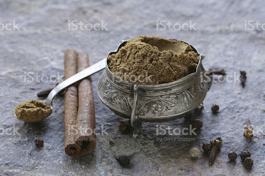 Indian mix of ground spices garam masala stock photo