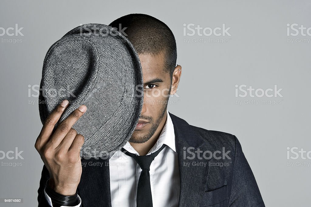 Indian model with fedora stock photo