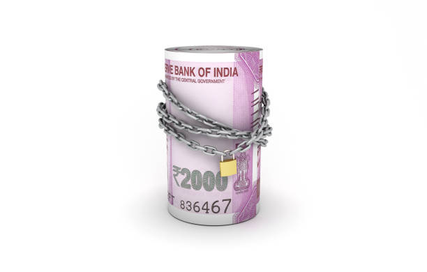 Indian Money and chain - 3D Rendered Image stock photo