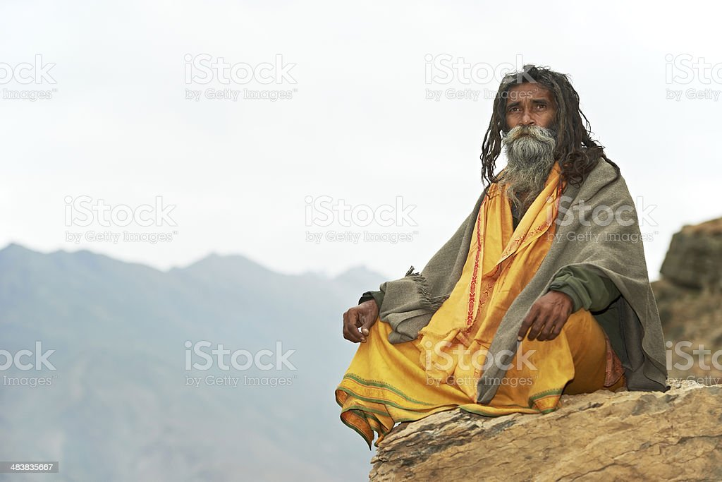 Indian monk sadhu stock photo