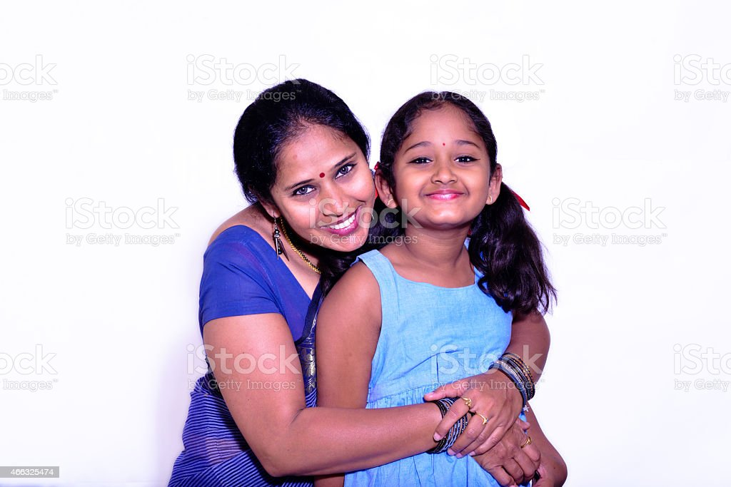 Indian Mother and Daughter stock photo