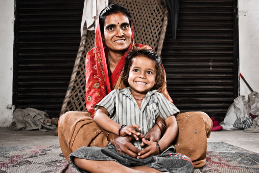 Indian Mother Together With Her Young Daughter Stock Photo - Download Image Now