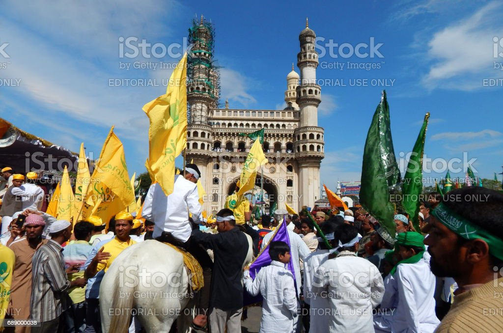 Indian Muslims take public procession on Milad un Nabi festival birthday of Prophet Mohammed,Hyderabad,India. stock photo