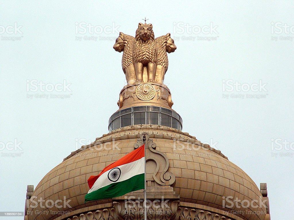Indian National Emblem & Flag stock photo