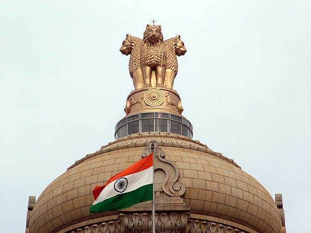 Indian National Emblem & Flag stock photo