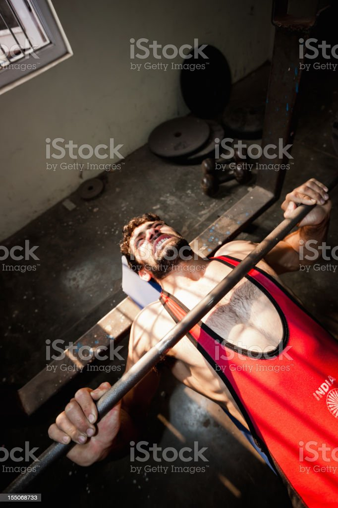 Indian National Team Wrestler Lifting Weights New Delhi India stock photo