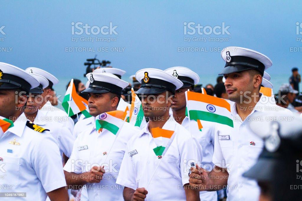 Indian navy officers at fleet parade in Pattaya stock photo