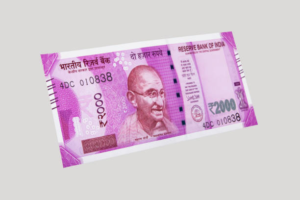 indian new 2000 note stock photo