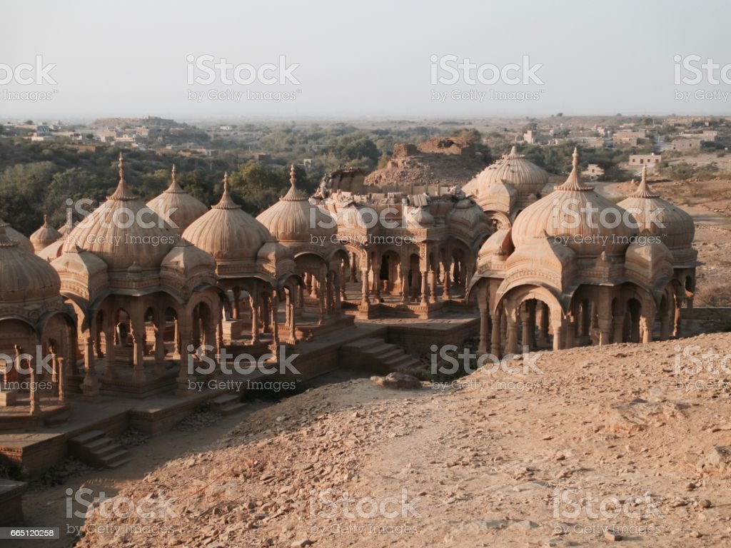 Indian old temple in the middle on the desert stock photo