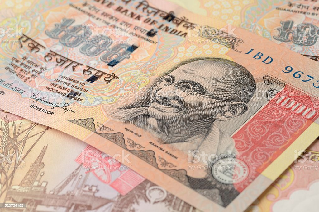 Indian One Thousand Rupee Note with Mahatma Gandhi Portrait stock photo