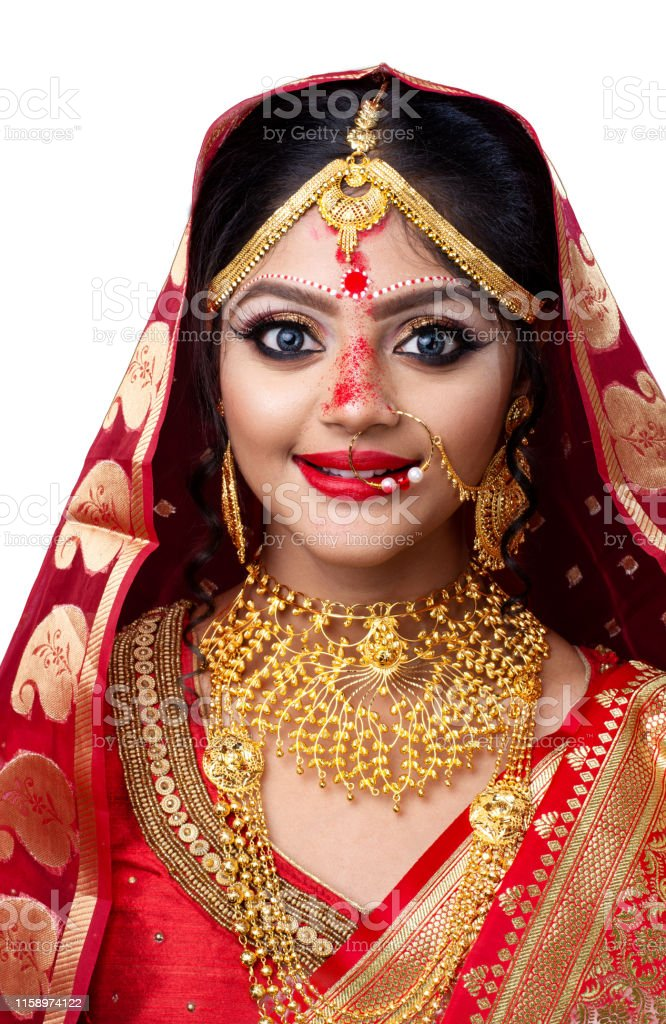 Indian Or Bengali Bride With Sindur Or Sindoor In Forehead Wearing