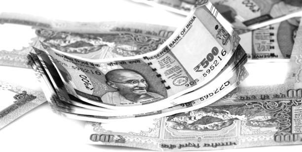 Indian paper bills stock photo