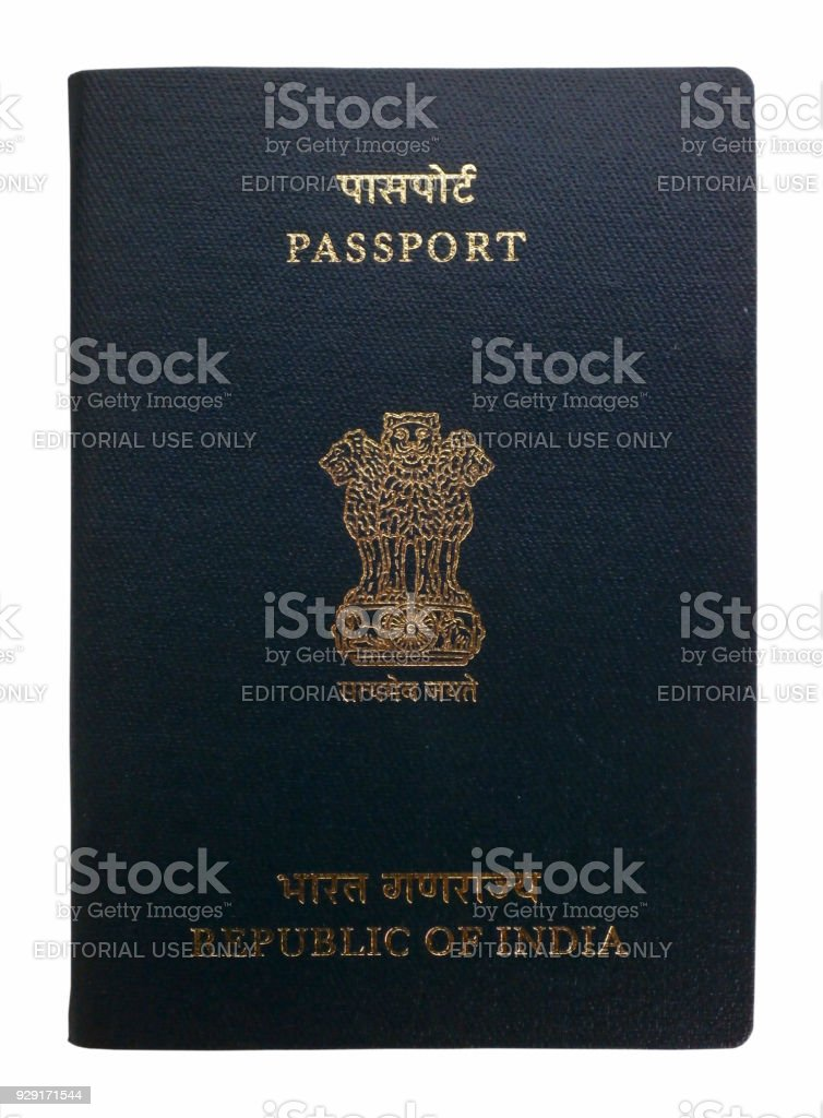 Indian passport isolated on a white background stock photo