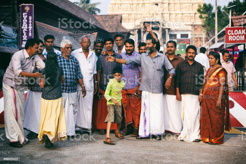 Indian people came to morning prayer worship Sri Padmanabhaswamy temple in Trivandrum Kerala India stock photo
