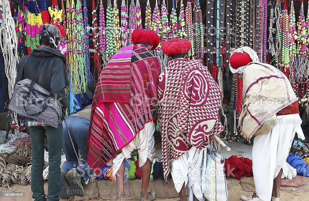 Indian people shoping in Pushkar fair stock photo
