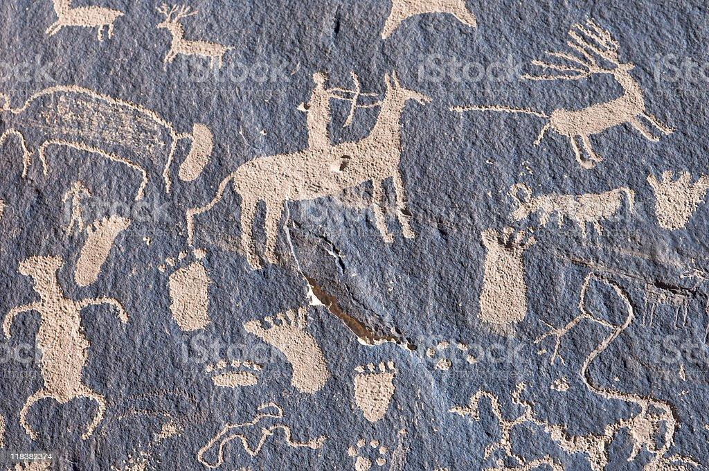 Indian petroglyph stock photo